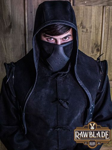 Akku splitleather Hood + Mask (Black)