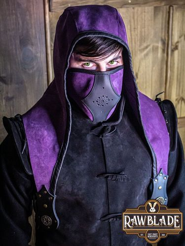 Akku splitleather Hood + Mask (Purple)
